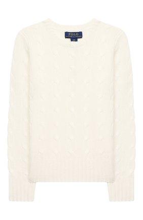 Детский кашемировый пуловер POLO RALPH LAUREN белого цвета, арт. 313562294 | Фото 1 (Рукава: Длинные; Материал внешний: Шерсть, Кашемир; Девочки Кросс-КТ: Пуловер-одежда; Ростовка одежда: 12 лет | 152 см, 8 лет | 128 см, 13 - 15 лет | 158 см)