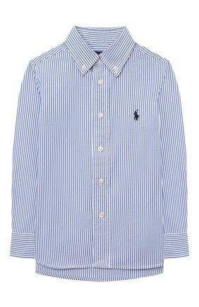 Детская хлопковая рубашка RALPH LAUREN голубого цвета, арт. 322819240 | Фото 1