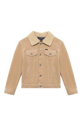 Детская хлопковая куртка POLO RALPH LAUREN бежевого цвета, арт. 313798544 | Фото 1