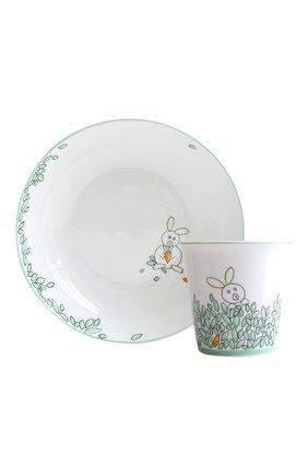 Мужского набор  из суповой тарелки и стаканчика petit boulingrin BERNARDAUD зеленого цвета, арт. 1755/6009 | Фото 1