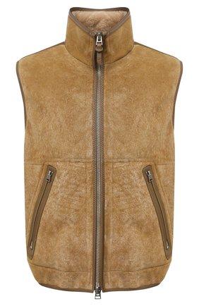 Мужской жилет из овчины TOM FORD бежевого цвета, арт. BV434/TFL795 | Фото 1 (Материал внешний: Натуральный мех; Длина (верхняя одежда): Короткие; Мужское Кросс-КТ: Верхняя одежда, Кожа и замша; Стили: Кэжуэл; Кросс-КТ: Куртка)