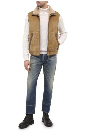 Мужской жилет из овчины TOM FORD бежевого цвета, арт. BV434/TFL795 | Фото 2 (Материал внешний: Натуральный мех; Длина (верхняя одежда): Короткие; Мужское Кросс-КТ: Верхняя одежда, Кожа и замша; Стили: Кэжуэл; Кросс-КТ: Куртка)