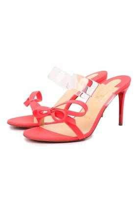 Женские кожаные мюли just nodo 85 CHRISTIAN LOUBOUTIN красного цвета, арт. just nodo 85 fluo matt/pat fluo/pvc   Фото 1