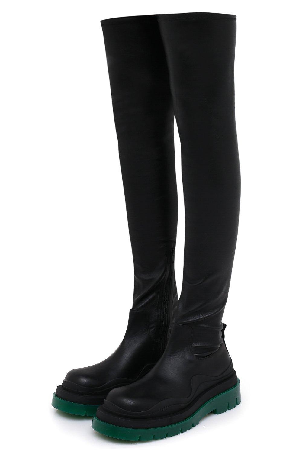 Женские кожаные ботфорты bv tire BOTTEGA VENETA черного цвета, арт. 630303/VBP71 | Фото 1 (Подошва: Платформа; Материал внутренний: Натуральная кожа; Каблук высота: Средний; Каблук тип: Устойчивый)