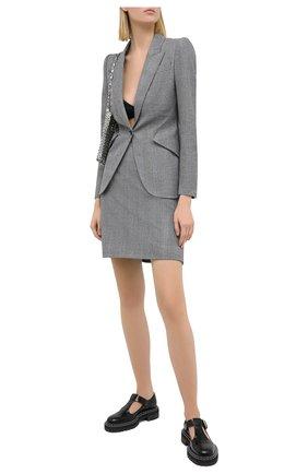 Женская шерстяная юбка ALEXANDER MCQUEEN серого цвета, арт. 631760/QJABH   Фото 2