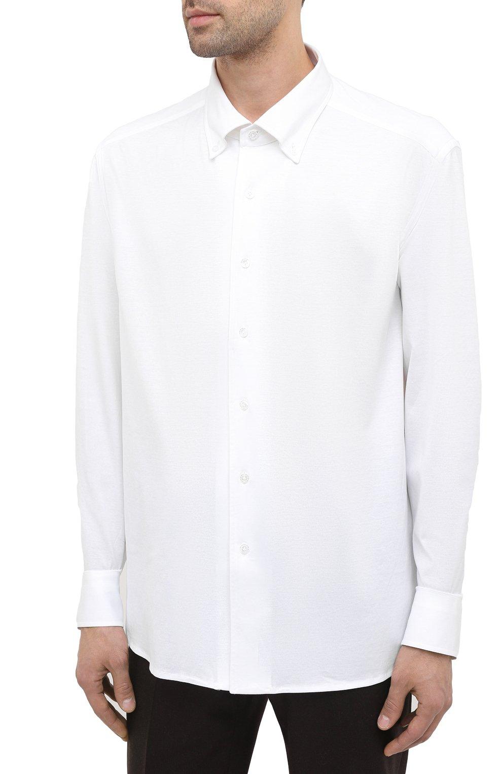 Мужская хлопковая сорочка SONRISA белого цвета, арт. IFJ7167/J133/47-51 | Фото 3 (Манжеты: На пуговицах; Воротник: Кент; Рукава: Длинные; Рубашки М: Regular Fit; Длина (для топов): Стандартные; Материал внешний: Хлопок; Стили: Классический; Случай: Формальный; Принт: Однотонные; Мужское Кросс-КТ: Сорочка-одежда)