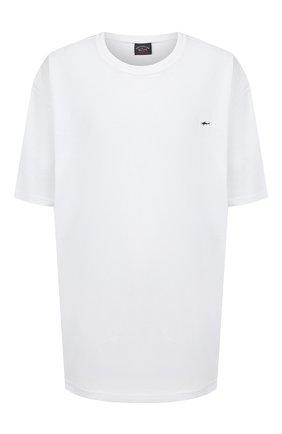 Мужская хлопковая футболка PAUL&SHARK белого цвета, арт. C0P1092/C00/3XL-6XL | Фото 1 (Материал внешний: Хлопок; Длина (для топов): Удлиненные; Рукава: Короткие; Мужское Кросс-КТ: Футболка-одежда; Стили: Кэжуэл; Принт: Без принта)