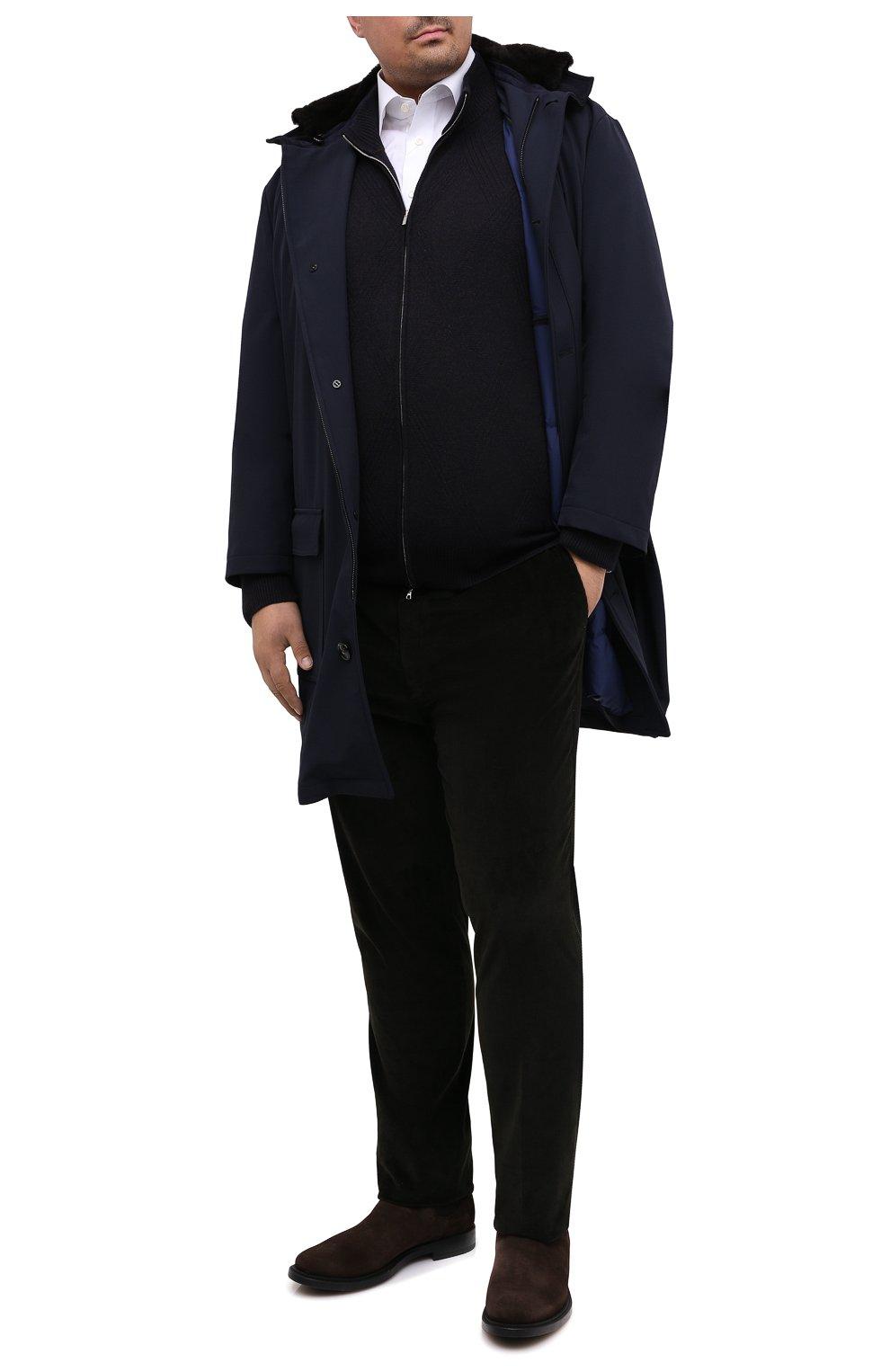 Мужской кашемировый кардиган CORTIGIANI синего цвета, арт. 919131/0000/60-70 | Фото 2 (Big sizes: Big Sizes; Материал внешний: Шерсть; Рукава: Длинные; Длина (для топов): Стандартные; Стили: Классический)
