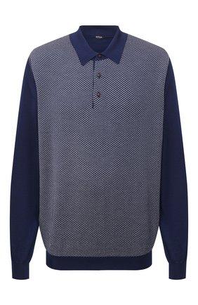 Мужское поло из кашемира и шелка KITON синего цвета, арт. UK1190/4XL-8XL | Фото 1