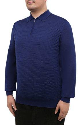 Мужское поло из кашемира и шелка ZILLI синего цвета, арт. MBU-PZ082-VAWA1/ML01 | Фото 3