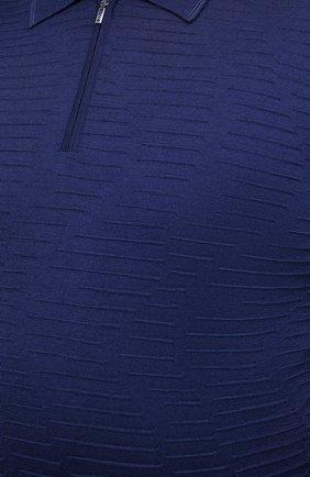 Мужское поло из кашемира и шелка ZILLI синего цвета, арт. MBU-PZ082-VAWA1/ML01 | Фото 5