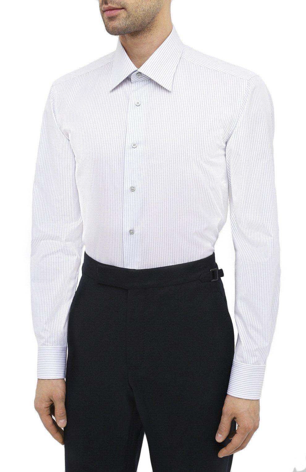 Мужская хлопковая сорочка ZILLI белого цвета, арт. MFU-1803-1118/0002 | Фото 3