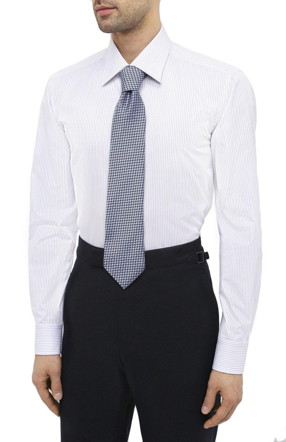 Мужская хлопковая сорочка ZILLI белого цвета, арт. MFU-1803-1118/0002 | Фото 4