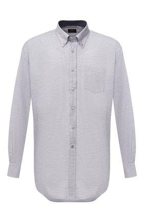 Мужская хлопковая рубашка PAUL&SHARK серого цвета, арт. I20P3064/C00 | Фото 1 (Материал внешний: Хлопок; Рукава: Длинные; Случай: Повседневный; Стили: Кэжуэл; Рубашки М: Regular Fit)