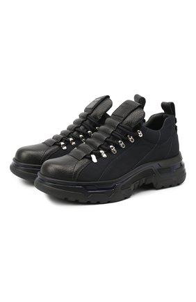 Мужские комбинированные кроссовки GIORGIO ARMANI темно-синего цвета, арт. X2C666/XM633 | Фото 1