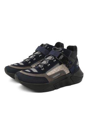 Мужские комбинированные кроссовки GIORGIO ARMANI темно-синего цвета, арт. X2X133/XM647 | Фото 1