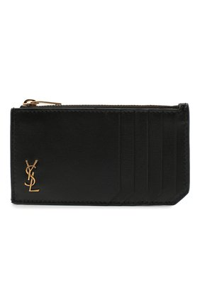 Мужской кожаный футляр для кредитных карт SAINT LAURENT черного цвета, арт. 629899/02G0W | Фото 1