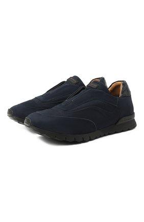 Мужские кроссовки с отделкой из кожи крокодила KITON темно-синего цвета, арт. USSFREEN00682/CP0R   Фото 1
