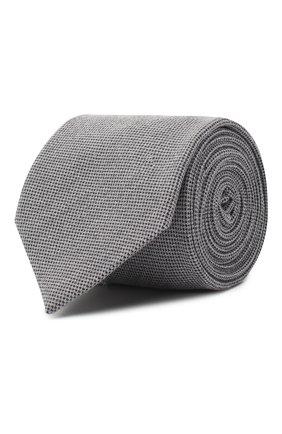 Мужской галстук из шелка и шерсти VAN LAACK серого цвета, арт. LUIS-EL/K04102 | Фото 1 (Материал: Шелк, Текстиль, Шерсть; Принт: Без принта)
