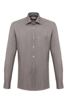 Мужская хлопковая рубашка KITON коричневого цвета, арт. UMCNERCH0749108 | Фото 1