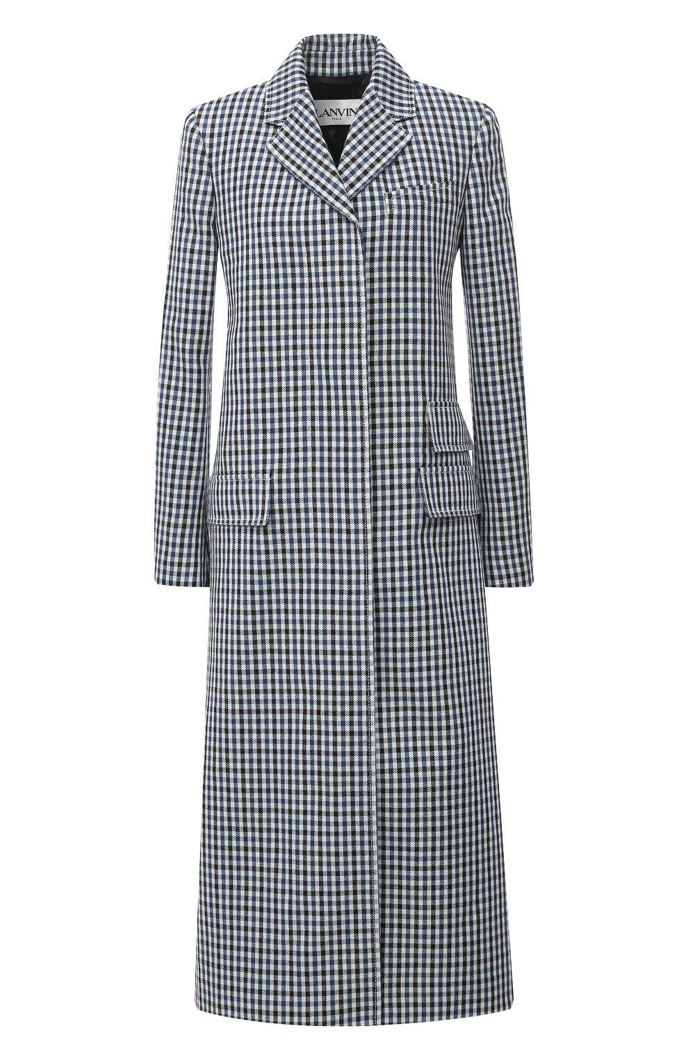 Женское шерстяное пальто LANVIN синего цвета, арт. RW-C0100T-4586-A20 | Фото 1 (Материал внешний: Шерсть; Рукава: Длинные; Стили: Классический; Длина (верхняя одежда): Длинные; 1-2-бортные: Однобортные; Материал подклада: Вискоза)