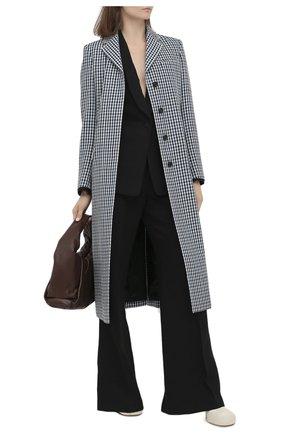 Женское шерстяное пальто LANVIN синего цвета, арт. RW-C0100T-4586-A20 | Фото 2 (Материал внешний: Шерсть; Рукава: Длинные; Стили: Классический; Длина (верхняя одежда): Длинные; 1-2-бортные: Однобортные; Материал подклада: Вискоза)