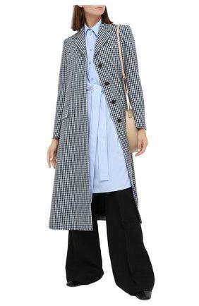 Женское шерстяное пальто LANVIN синего цвета, арт. RW-C0100T-4586-A20 | Фото 3 (Материал внешний: Шерсть; Рукава: Длинные; Стили: Классический; Длина (верхняя одежда): Длинные; 1-2-бортные: Однобортные; Материал подклада: Вискоза)