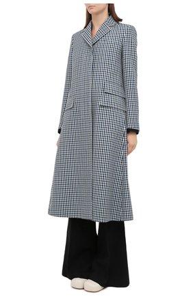 Женское шерстяное пальто LANVIN синего цвета, арт. RW-C0100T-4586-A20 | Фото 4 (Материал внешний: Шерсть; Рукава: Длинные; Стили: Классический; Длина (верхняя одежда): Длинные; 1-2-бортные: Однобортные; Материал подклада: Вискоза)
