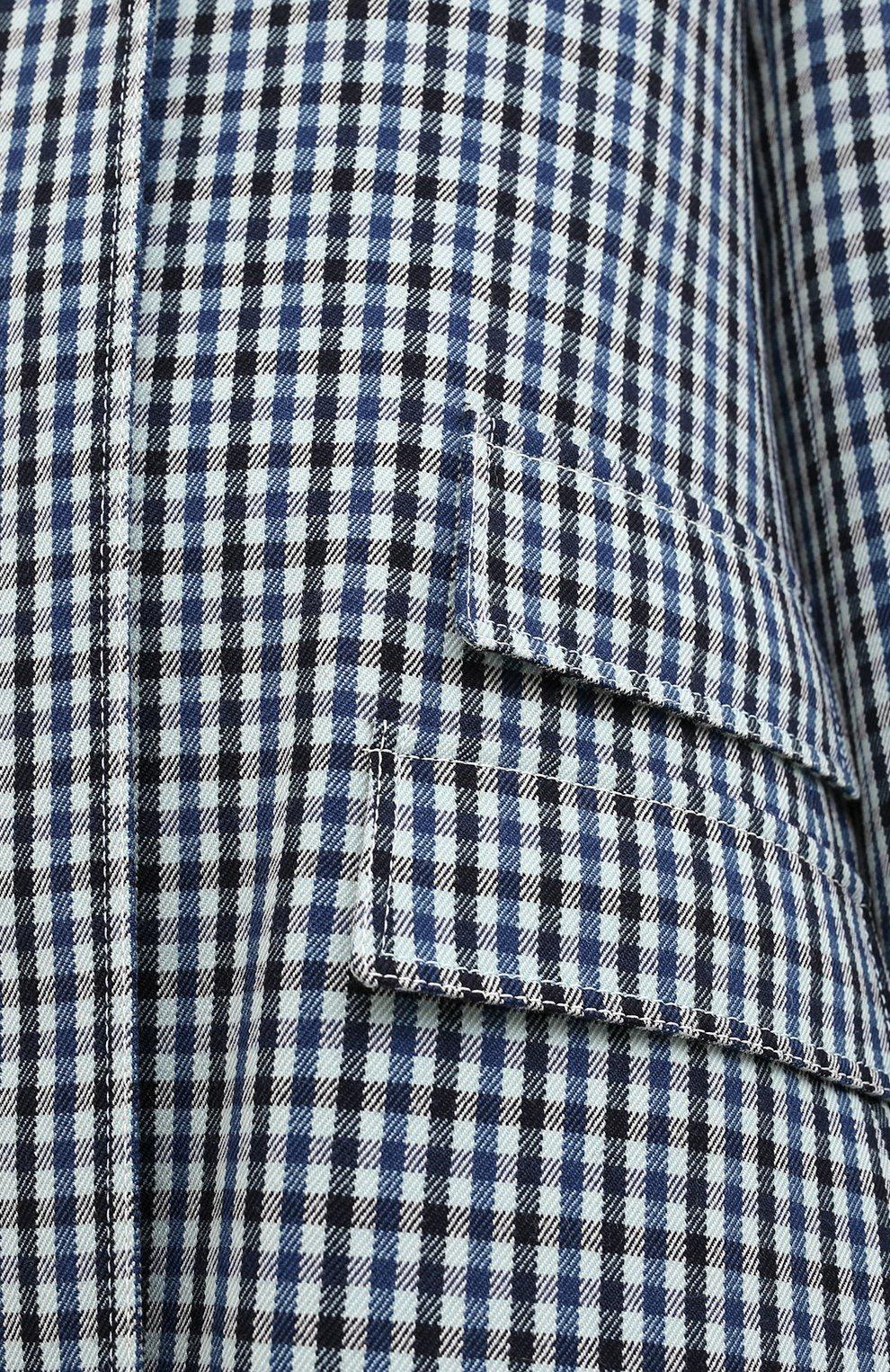 Женское шерстяное пальто LANVIN синего цвета, арт. RW-C0100T-4586-A20 | Фото 6 (Материал внешний: Шерсть; Рукава: Длинные; Стили: Классический; Длина (верхняя одежда): Длинные; 1-2-бортные: Однобортные; Материал подклада: Вискоза)