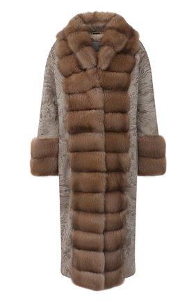 Женское пальто с меховой отделкой MANZONI24 светло-бежевого цвета, арт. 20M854-PAZ/BEIGE/CHAMPAGNE/38-46 | Фото 1