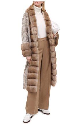 Женское пальто с меховой отделкой MANZONI24 светло-бежевого цвета, арт. 20M854-PAZ/BEIGE/CHAMPAGNE/38-46 | Фото 2