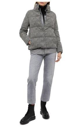 Женский пуховая куртка ADD серого цвета, арт. 2AWG60 | Фото 2 (Длина (верхняя одежда): Короткие; Материал подклада: Синтетический материал; Рукава: Длинные; Материал утеплителя: Пух и перо; Материал внешний: Хлопок; Женское Кросс-КТ: Пуховик-куртка; Стили: Минимализм; Кросс-КТ: Пуховик, Куртка)