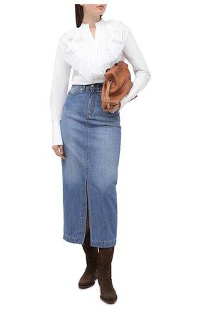Женская джинсовая юбка VICTORIA, VICTORIA BECKHAM голубого цвета, арт. 2420DSK002098A | Фото 2