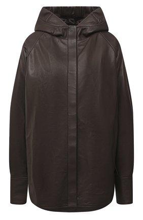 Женская кожаная куртка DROME коричневого цвета, арт. DPD3085/D1098   Фото 1 (Рукава: Длинные; Материал подклада: Вискоза; Женское Кросс-КТ: Замша и кожа; Стили: Кэжуэл; Кросс-КТ: Куртка; Длина (верхняя одежда): До середины бедра)