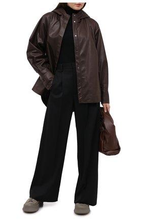 Женская кожаная куртка DROME коричневого цвета, арт. DPD3085/D1098   Фото 2 (Рукава: Длинные; Материал подклада: Вискоза; Женское Кросс-КТ: Замша и кожа; Стили: Кэжуэл; Кросс-КТ: Куртка; Длина (верхняя одежда): До середины бедра)