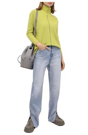 Женский свитер из шерсти и кашемира LORENA ANTONIAZZI светло-зеленого цвета, арт. I2044DM014/1292 | Фото 2