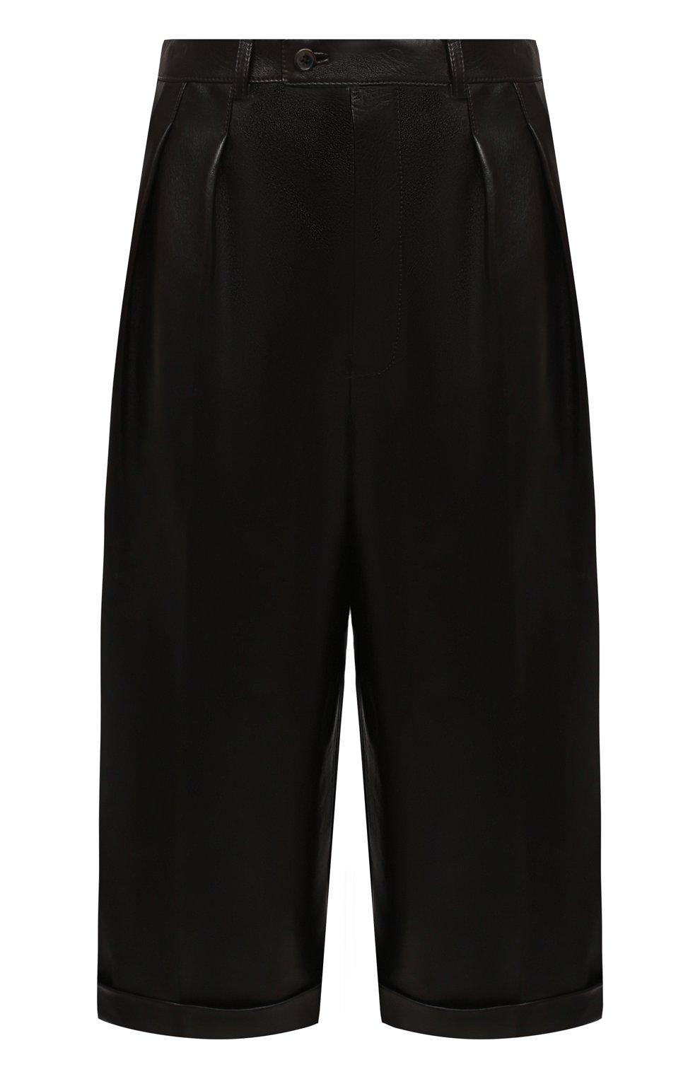 Женские кожаные шорты SAINT LAURENT темно-коричневого цвета, арт. 636127/Y50A2 | Фото 1 (Женское Кросс-КТ: Шорты-одежда; Стили: Гламурный; Кросс-КТ: Широкие; Длина Ж (юбки, платья, шорты): До колена; Материал подклада: Купро)