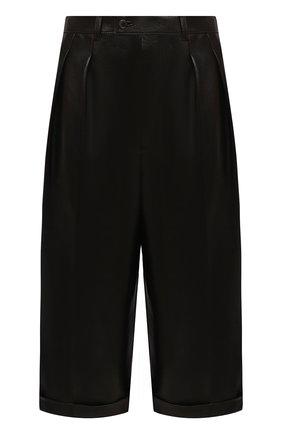 Женские кожаные шорты SAINT LAURENT темно-коричневого цвета, арт. 636127/Y50A2 | Фото 1