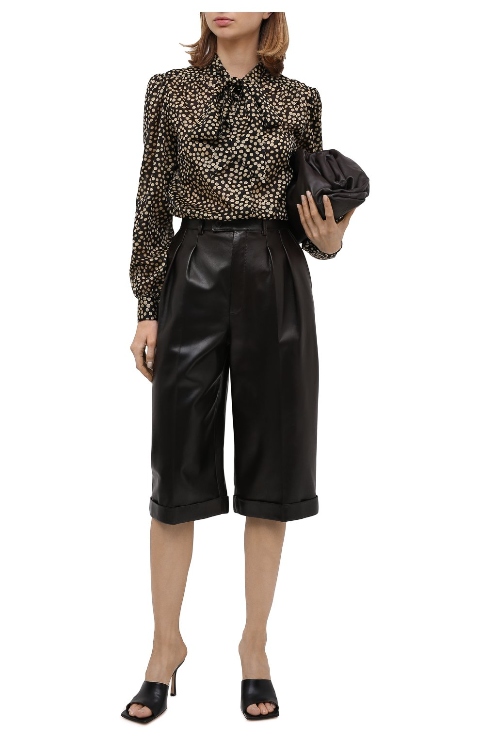 Женские кожаные шорты SAINT LAURENT темно-коричневого цвета, арт. 636127/Y50A2 | Фото 2 (Женское Кросс-КТ: Шорты-одежда; Стили: Гламурный; Кросс-КТ: Широкие; Длина Ж (юбки, платья, шорты): До колена; Материал подклада: Купро)