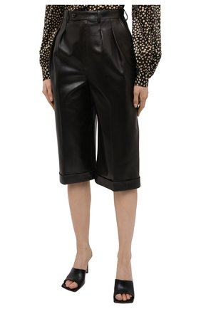 Женские кожаные шорты SAINT LAURENT темно-коричневого цвета, арт. 636127/Y50A2 | Фото 3 (Женское Кросс-КТ: Шорты-одежда; Стили: Гламурный; Кросс-КТ: Широкие; Длина Ж (юбки, платья, шорты): До колена; Материал подклада: Купро)