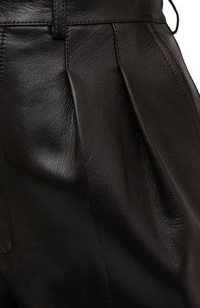 Женские кожаные шорты SAINT LAURENT темно-коричневого цвета, арт. 636127/Y50A2 | Фото 5 (Женское Кросс-КТ: Шорты-одежда; Стили: Гламурный; Кросс-КТ: Широкие; Длина Ж (юбки, платья, шорты): До колена; Материал подклада: Купро)