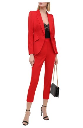 Женские шерстяные брюки ALEXANDER MCQUEEN красного цвета, арт. 585118/QJAAC   Фото 2