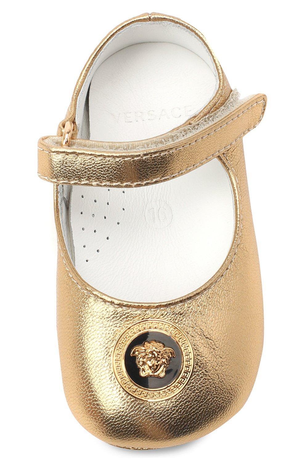 Детского кожаные пинетки VERSACE золотого цвета, арт. YFF00059/YB00035 | Фото 4