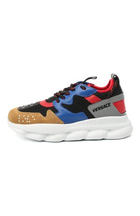 Детские кроссовки с кожаной отделкой VERSACE разноцветного цвета, арт. YHX00002/YB00364/30-33   Фото 2 (Материал внешний: Текстиль; Материал внутренний: Текстиль; Стили: Гранж)