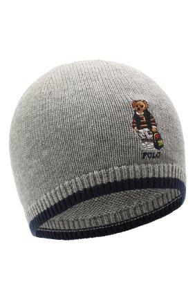 Детского шапка из шерсти и хлопка RALPH LAUREN серого цвета, арт. 322800028   Фото 1