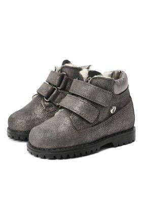 Детские кожаные ботинки с меховой отделкой WALKEY серого цвета, арт. Y1A4-40144-0416/19-24 | Фото 1