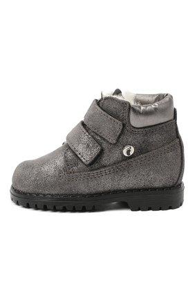 Детские кожаные ботинки с меховой отделкой WALKEY серого цвета, арт. Y1A4-40144-0416/19-24 | Фото 2