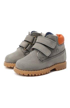 Детские кожаные ботинки WALKEY серого цвета, арт. Y1B4-40015-0415/19-24 | Фото 1