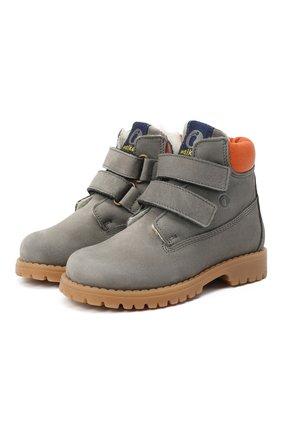 Детские кожаные ботинки WALKEY серого цвета, арт. Y1B4-40015-0415/25-29 | Фото 1
