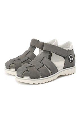 Детские кожаные сандалии WALKEY серого цвета, арт. Y1B4-40666-0121 | Фото 1